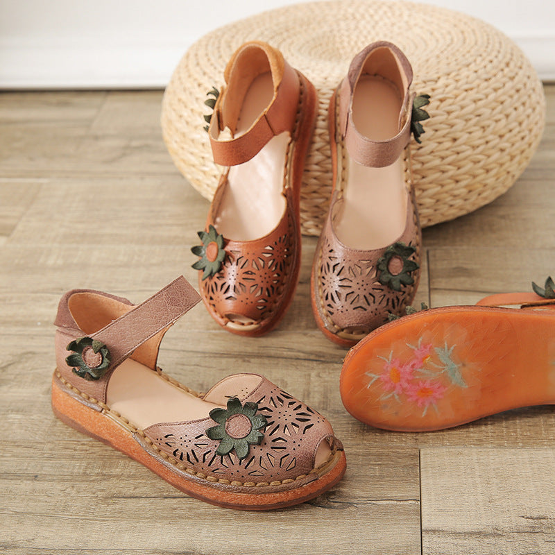 Women's Peep-toe Vintage Genuine Leather Hollow Flower Flat Sandals