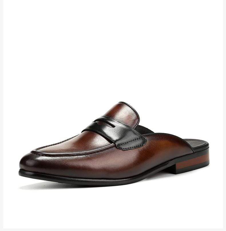 British Men's Leather Slippers Lazy Shoes