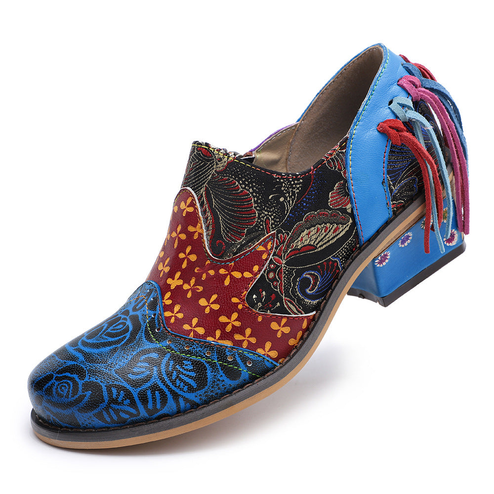 Women Vintage Leather Splicing Flower Pattern Loafers