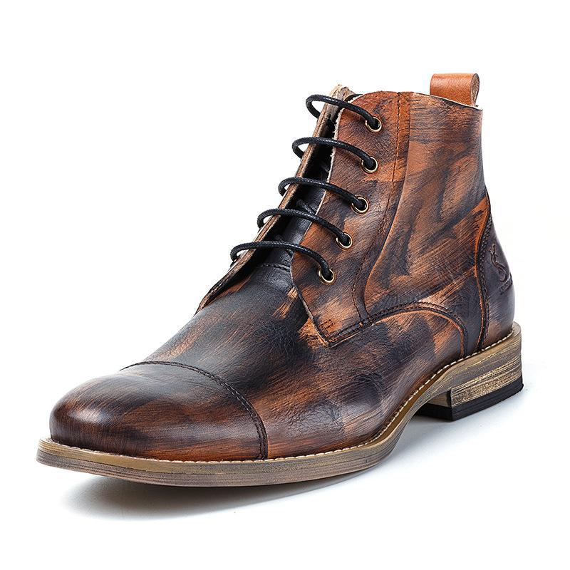 Men Retro Leather Lace Up Boots Shoes
