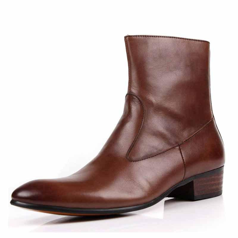 Men Pointed Zipper Boots