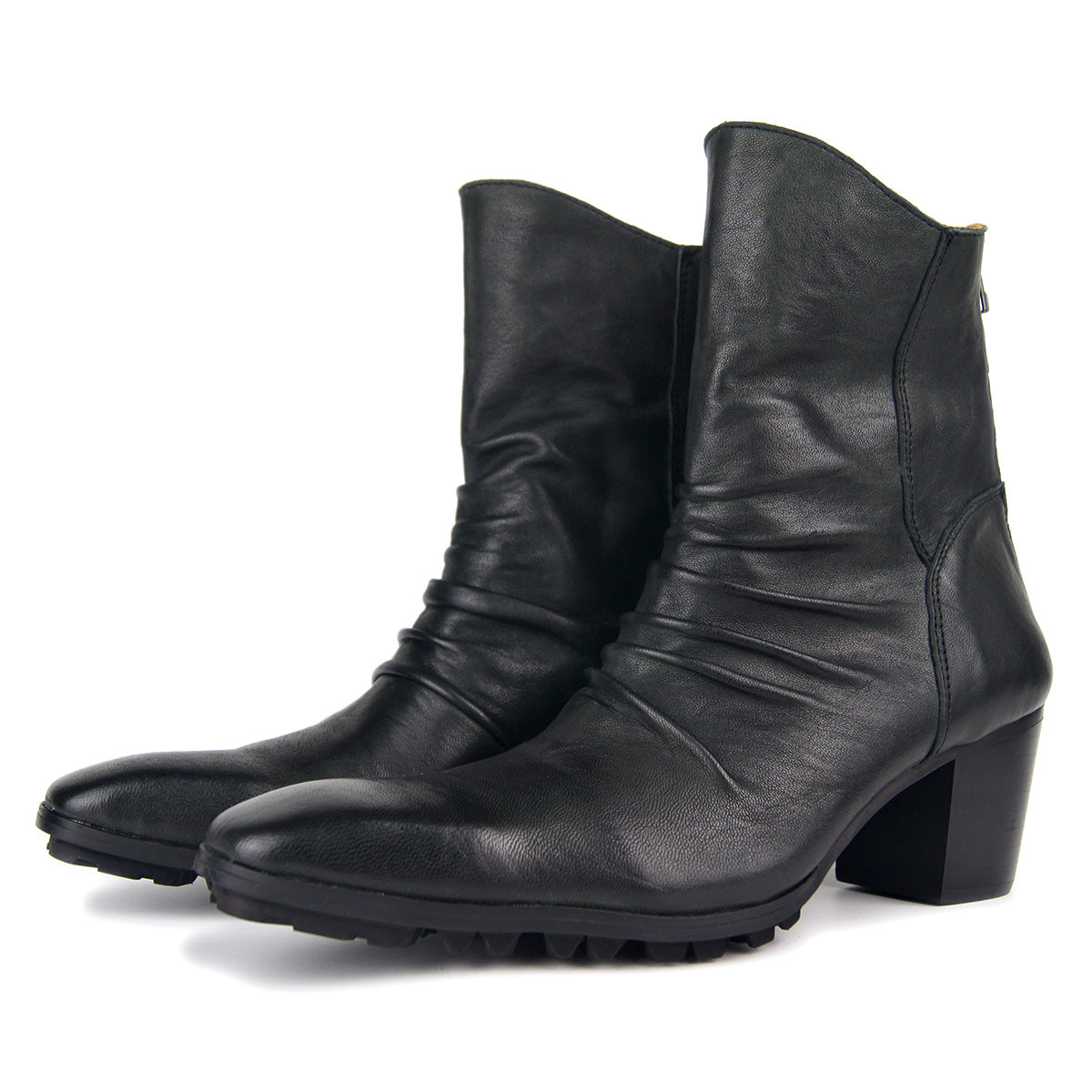 Men Leather Pointed Zipper Low Heel Boots