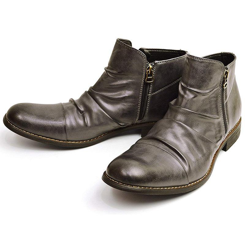 Men's Pleated Zipper Boots