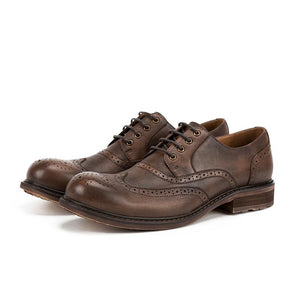 Men's Carved Leather Shoes