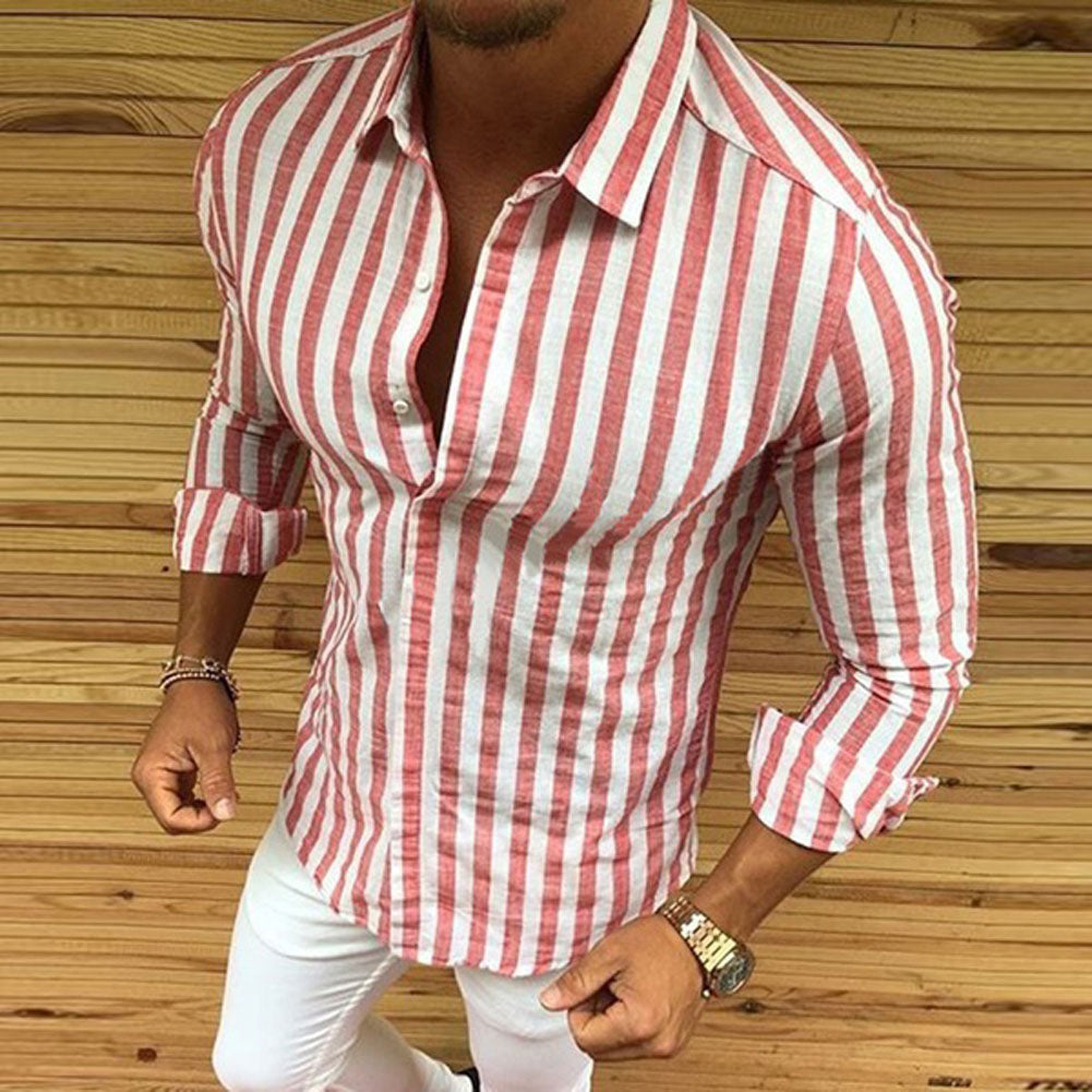 Men's Long Sleeve Striped Button Shirts