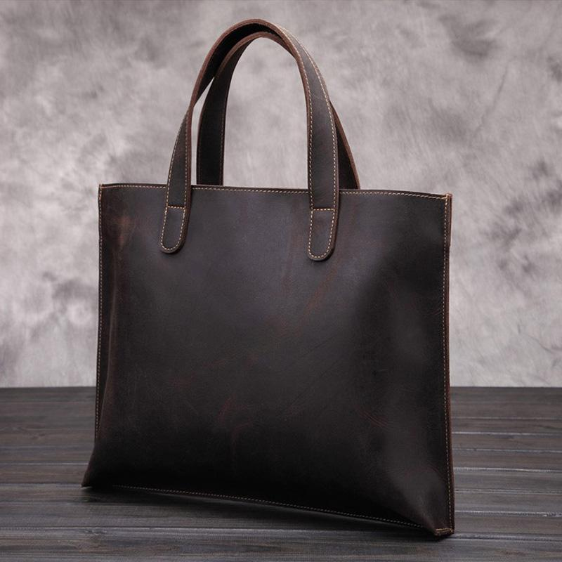 Men's Vintage Leather Tote Shoulder Bag