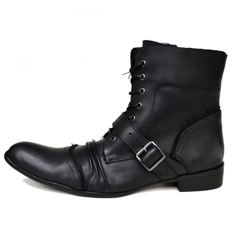 Men's Long Nose Lace-up Boots