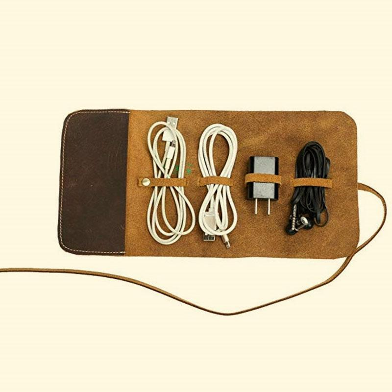 Headphone Data Cable Leather Storage Package