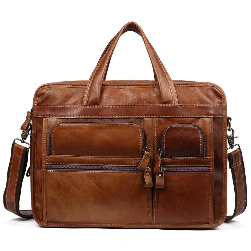 Men Leather Briefcase Handbag