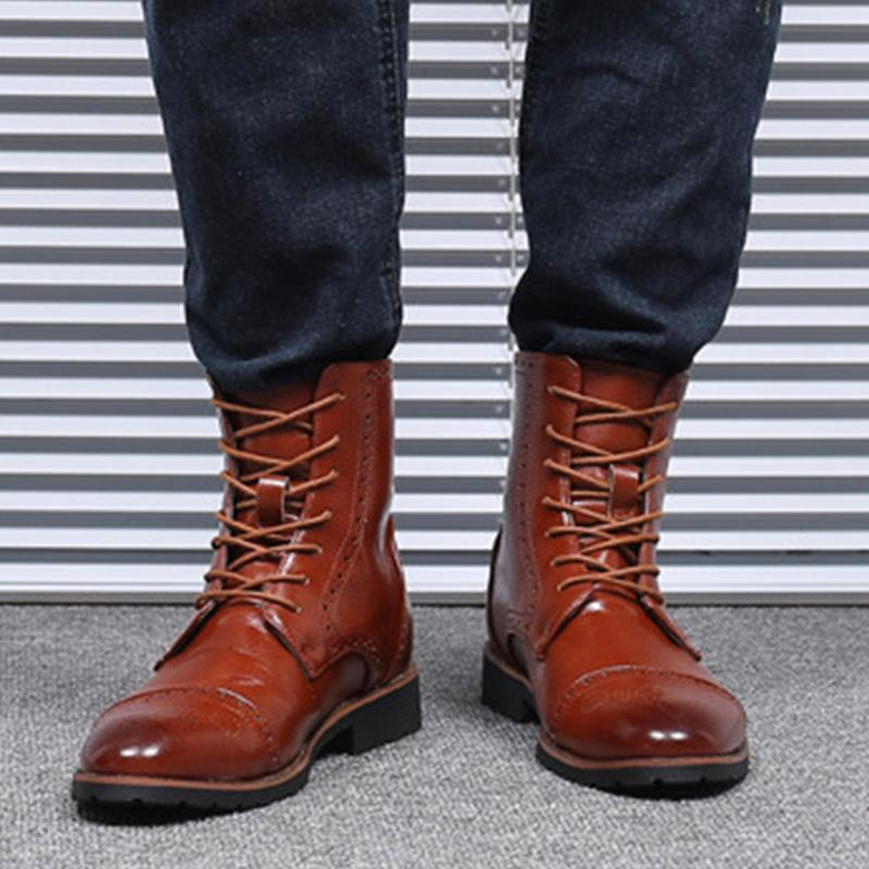 Men's Carved Pointed Martin Boots