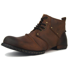 Men Fashion Lace Up Leather Chukka Boots Ankle Boots Casual Shoes