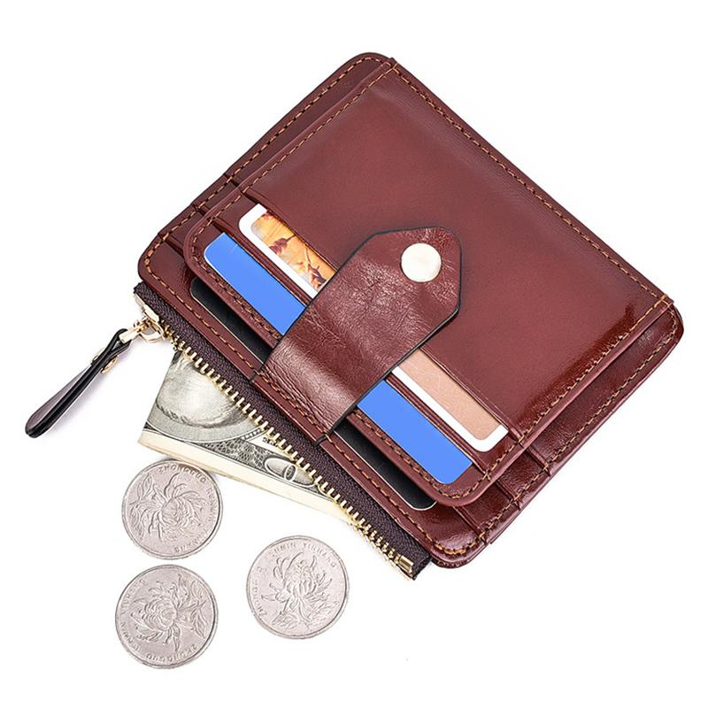 Wax Leather Pocket Wallet For Men Women