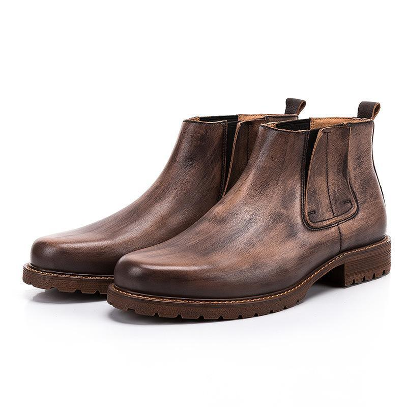 Men Retro Leather Chelsea Boots