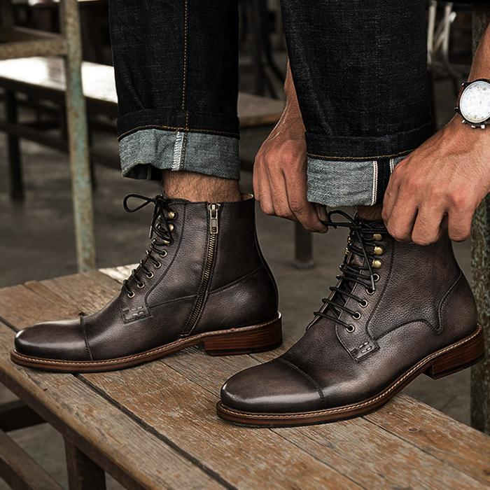 Men Leather Retro Trend Casual Boots Shoes