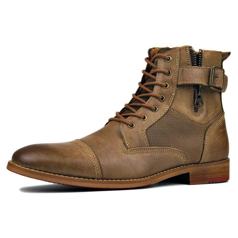 Men Lace Up Leather Boots Shoes
