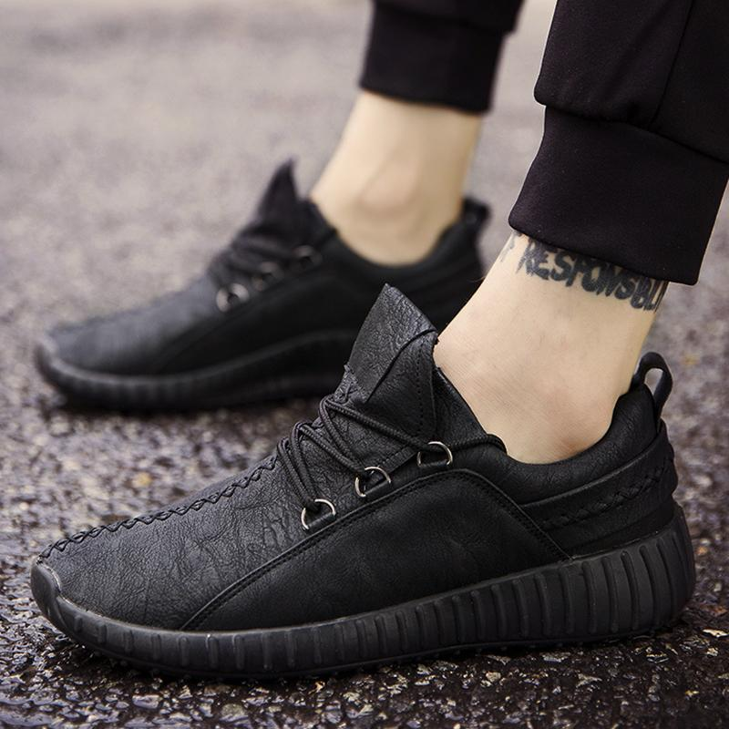 Men Leather Lace-up Casual Sneakers