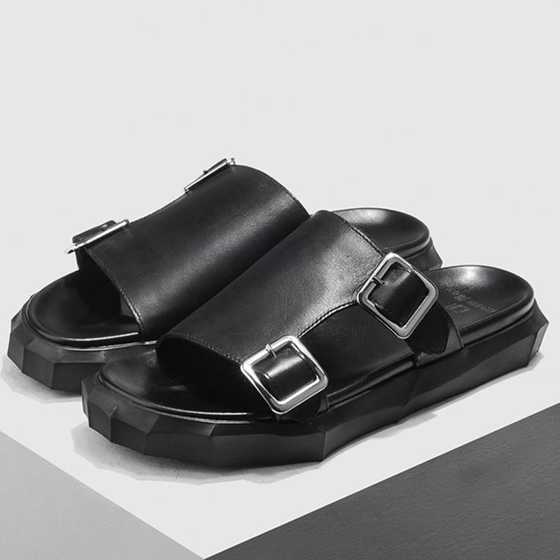 Men Leather Double Buckle Platform Sandals