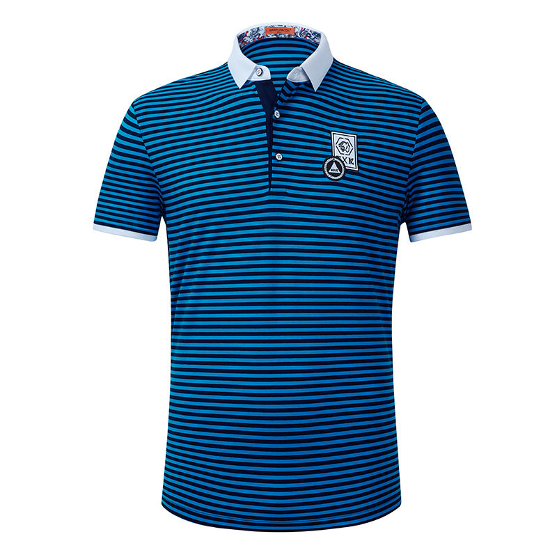 Mercerized Cotton Polo Men Striped Embroidery T-shirt