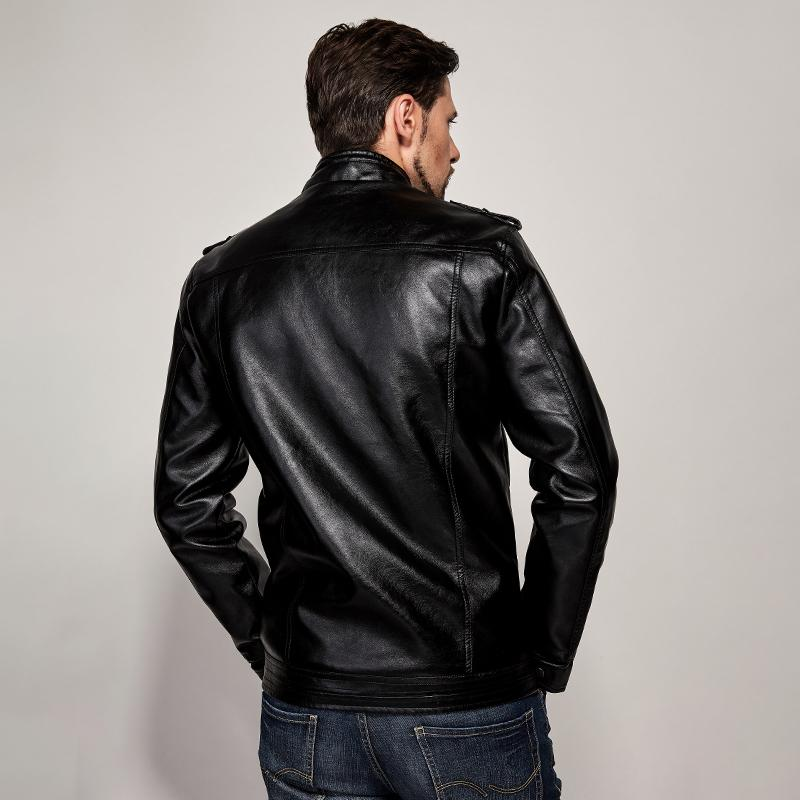 Slim-fit Collar Locomotive Leather Jacket