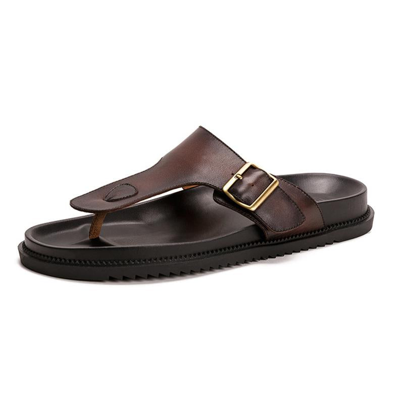 Men Leather Flip Flop Sandals