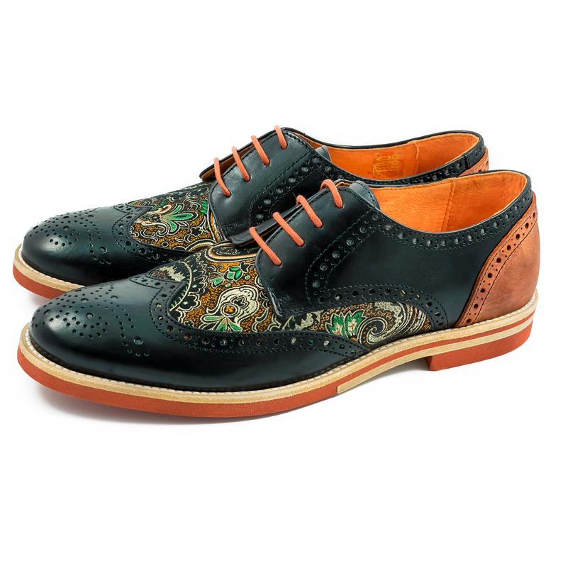 Men Handmade Silk Dragon Pattern Wingtip Oxford Shoes