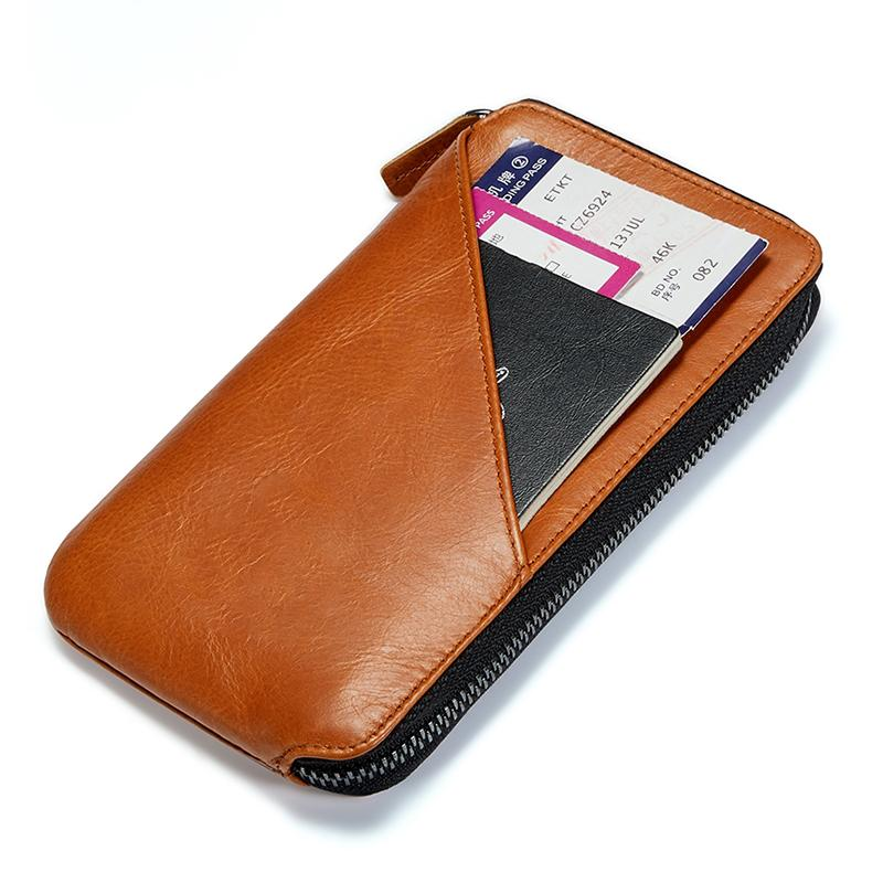 Men Zipper Leather Slim Travel Wallet Passport Wallet