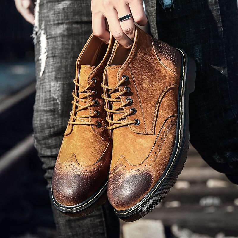 Men Brogue Casual Lace Up Boots