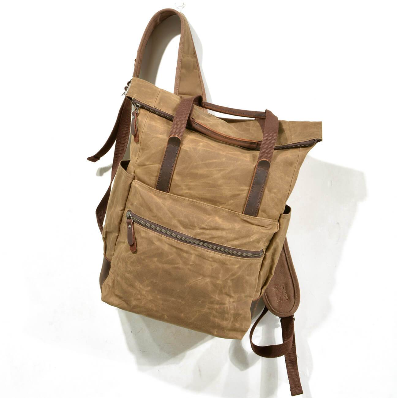 Retro Style Waterproof Leather Canvas Shoulder Bag