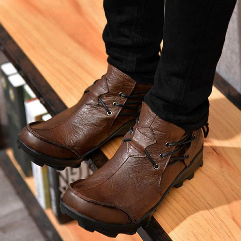 Men Punk Motorcycle Leather Shoes