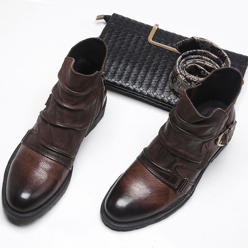 Men Leather Pleated Ankle Boots