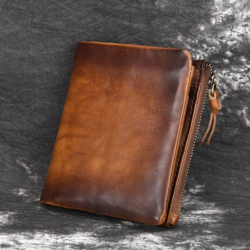 Men's Zipper Leather Short Wallet