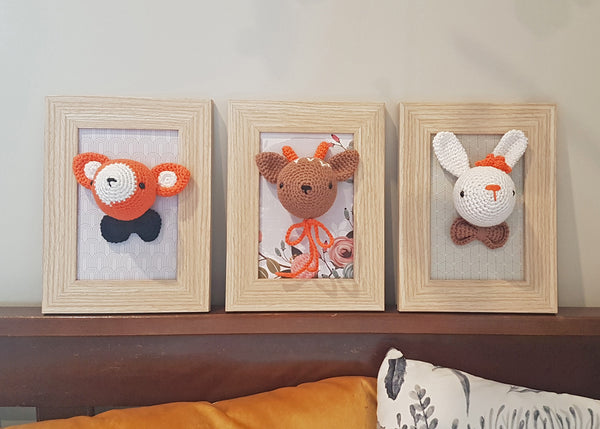 framed woodland animals - fox, rabbit and deer