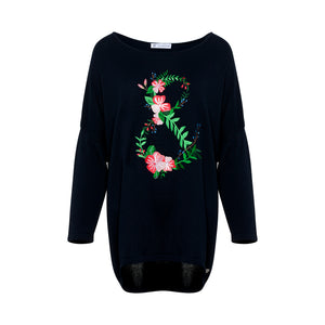 Floral embroidered g-string sweater