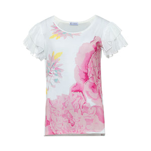 T-Shirt with Ruffles and Print