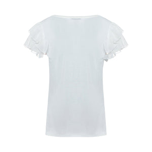 T-Shirt with Ruffles and Print - guimanos-store