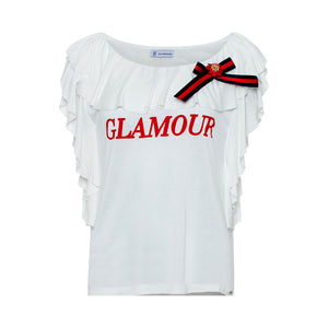 T Shirt with Ruffles and Bow - guimanos-store