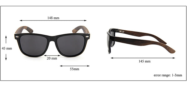 check the right bamboo sunglasses size online