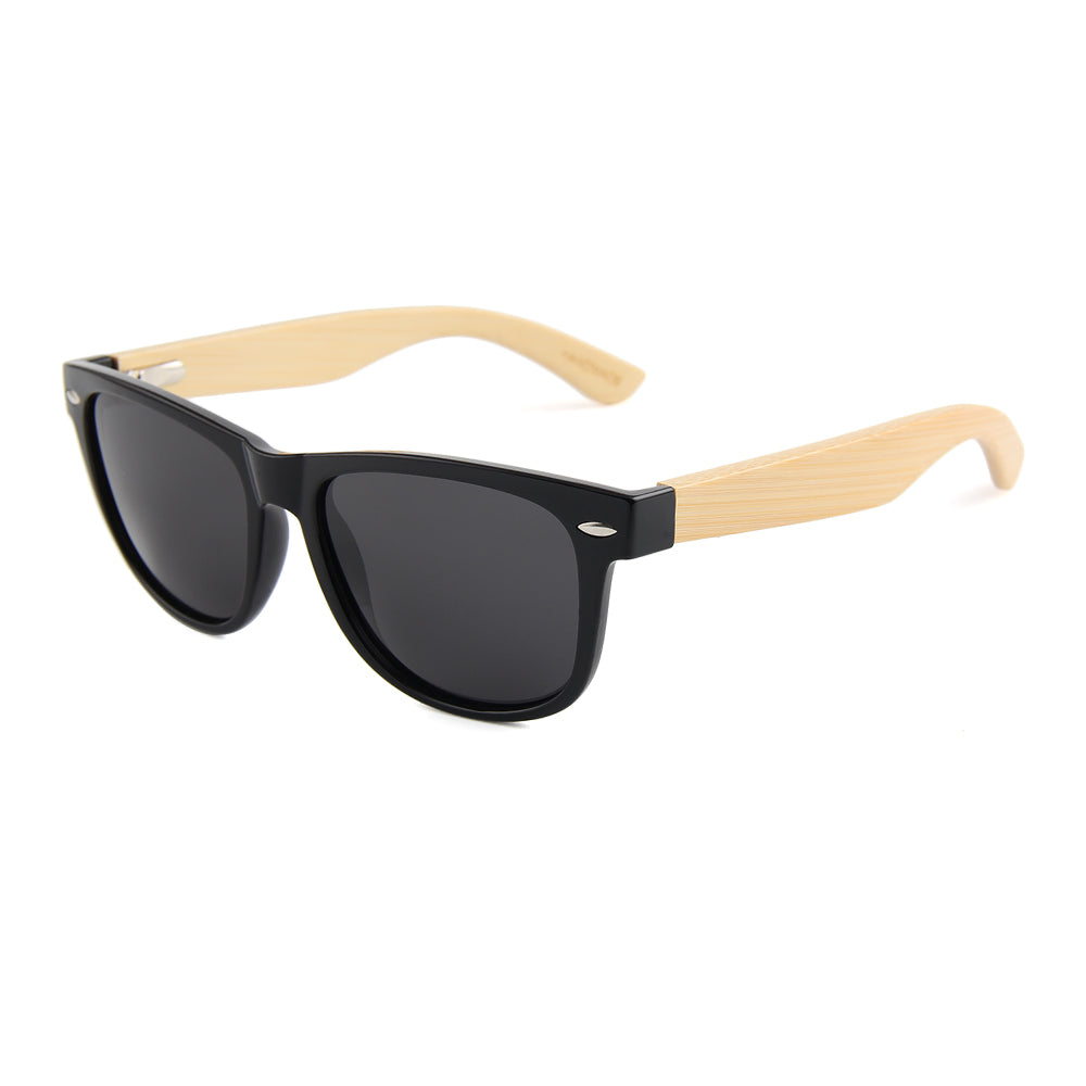 Coniston Smoked Polarized Lens Wayfarer Bamboo Sunglasses