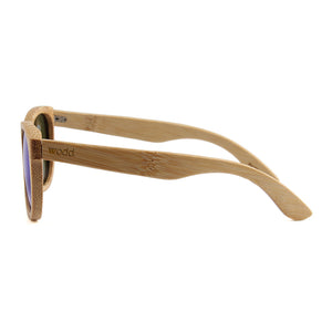 Blaker Full Bamboo Sunglasses Blue Mirror Polarized Lens UV400 Spring Hinge