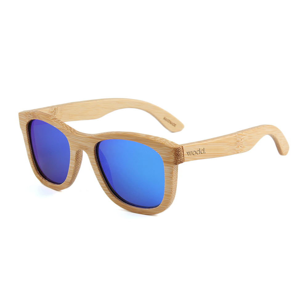 Blaker Full Bamboo Sunglasses Blue Mirror Polarized Lens