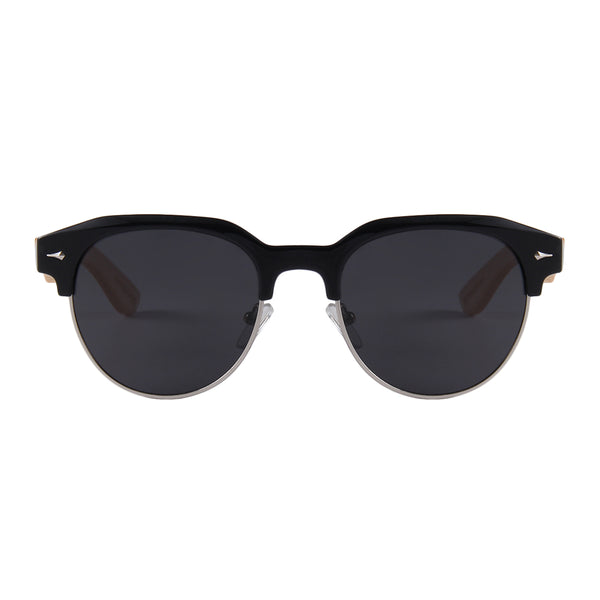 Dellen Clubmaster Style Bamboo Sunglasses Smoked Polarized Lens UV400