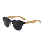 Dellen Clubmaster Style Bamboo Sunglasses Smoked Polarized Lens