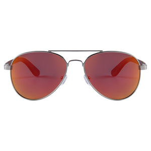 Helston Aviator Wooden Sunglasses Red Mirror Polarized Lens UV400 Philippines