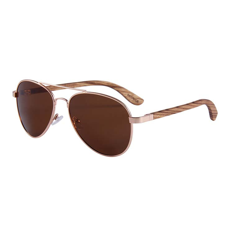Helston Aviator Wooden Sunglasses Brown Polarized Lens