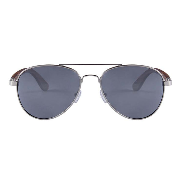 Helston Aviator Wooden Sunglasses Silver Mirror Polarized Lens for sale