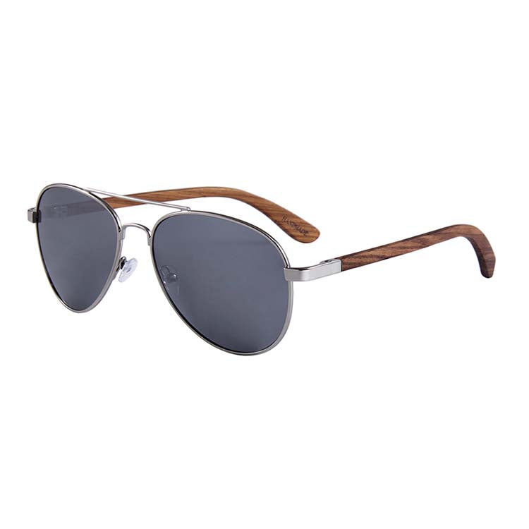 Helston Aviator Wooden Sunglasses Silver Mirror Polarized Lens