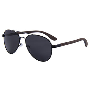 Helston Aviator Wooden Sunglasses Smoked Polarized Lens