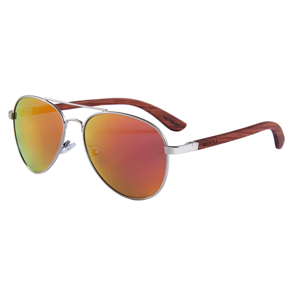 Helston Aviator Wooden Sunglasses Red Mirror Polarized Lens