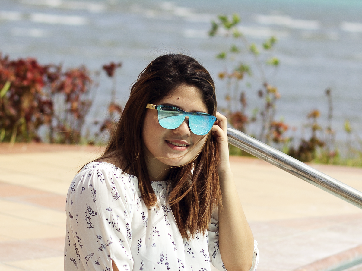 amaha ice blue lens bamboo sunglasses lifestyle photo