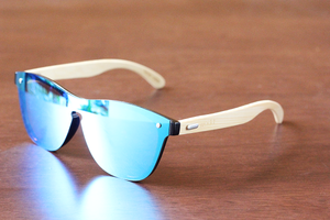 amaha ice blue lens bamboo sunglasses